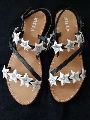 MILLA Sandalen schwarz, weiss, silberfarben