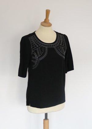 Miller & Monroe schwarzes T-Shirt mit Silber Stickerei S