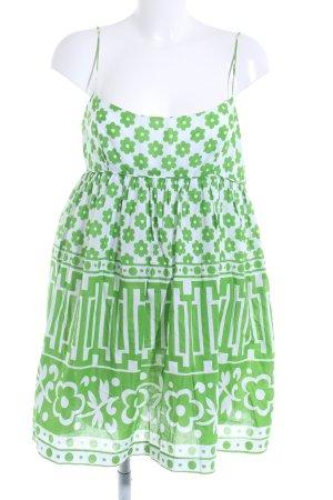 Milly A-Linien Kleid weiß-grün florales Muster Romantik-Look