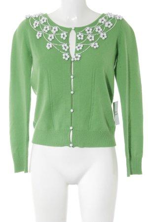Milly Strickjacke weiß-grün Street-Fashion-Look