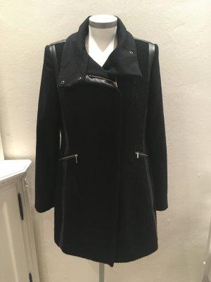 Milo Coats Mantel Jacke schwarz Wolle Kunstleder 36 S