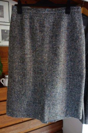 Mimi Moden Modeatelier, Vintage von vor 2000, Rock, schmaler Rock mit Gehfalte, grau meliert, hochwertige Qualität, grober Stoff Webstoff mit Struktur, auch Outdoor geeignet, TOP Qualität, sehr gut erhalten, Gr. 42