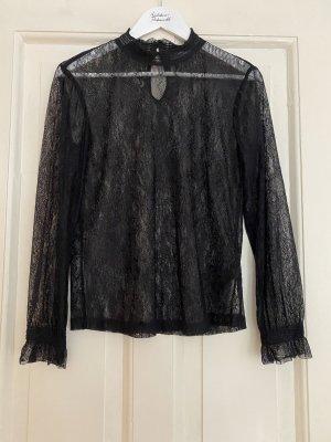 miminum Langarm-Shirt Bluse schwarze Spitze - 36