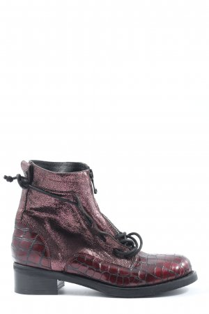 Mimmu Lace-up Booties red animal pattern casual look