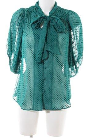 Mina UK Tie-neck Blouse green-black spot pattern elegant