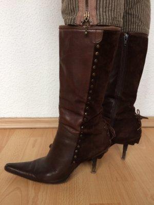 minelli Laarzen met hoge hakken bruin-donkerbruin