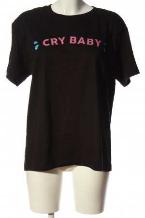 minga london T-Shirt schwarz-pink Motivdruck Casual-Look