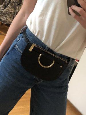 Mini Bauchtasche in Schwarz mit Ring