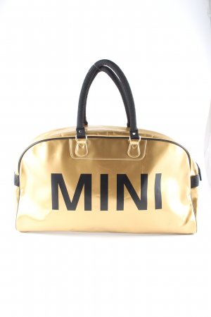 Mini Collegetasche goldfarben-schwarz Schriftzug gedruckt Casual-Look