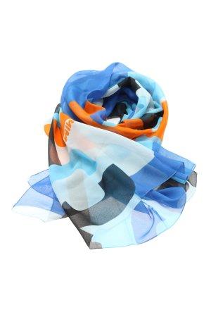 Mini Halstuch blau-hellorange abstraktes Muster Casual-Look