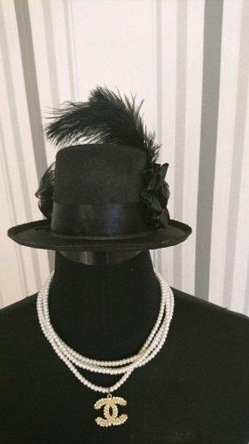 Haut-de-forme noir tissu mixte