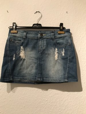 Mini-Jeans-Rock im used-Look von Only