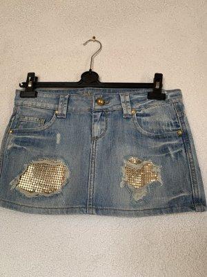 Mini Jeans Rock mit Gold Details