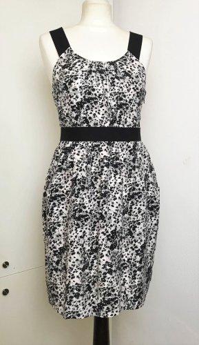 Mini Kleid 100% Seide high waist schwarz weiß rosé grau Gr US 6 / Ca D 36