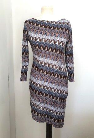 Mini Kleid 3/4 Ärmel Zick -ZAck Muster  Lochmuster blau braun creme Gr 38 M