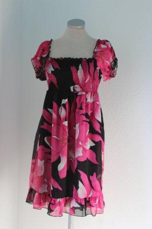 Mini Kleid Chiffon Carmenkleid Chiffonkleid Blumen pink schwarz Weiß Gr. S M 38 NEU
