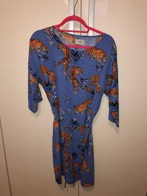 Minimum Mini vestido azul acero-naranja