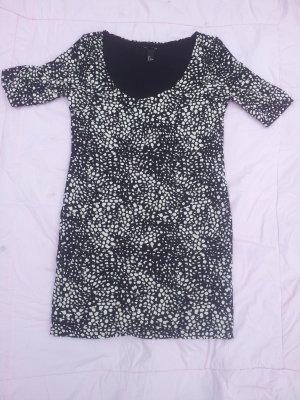 Mini Kleid schwarz weiße Flecke H&M Gr. M Stretch