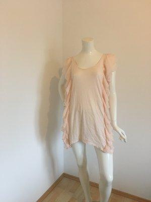 Mini Kleid Tunika Volants Rüschen Chiffon Baumwolle Long Top Oberteil Shirt rose Lachs Pastell Sommer Schlupfkleid ärmellos
