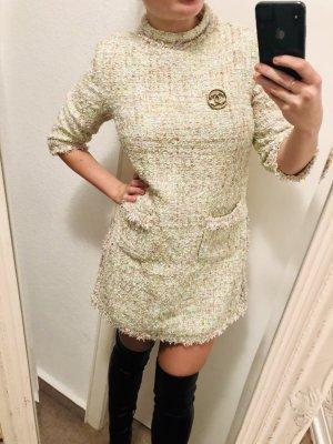 Mini Kleidchen Tunika Frühling pastell sage grün Stehkragen boucle tweed nude S 36/38