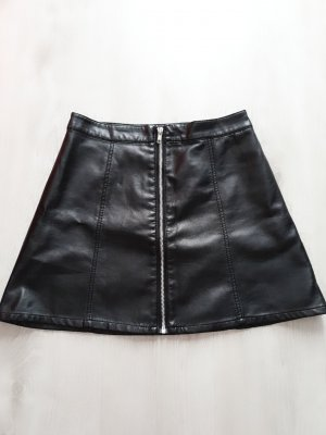 H&M Divided Faux Leather Skirt black-silver-colored