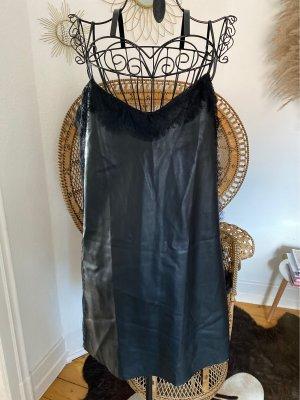 Zara Basic Skórzana sukienka czarny