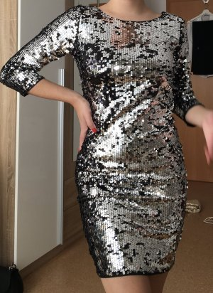 Bikbok Vestido de lentejuelas color plata-negro