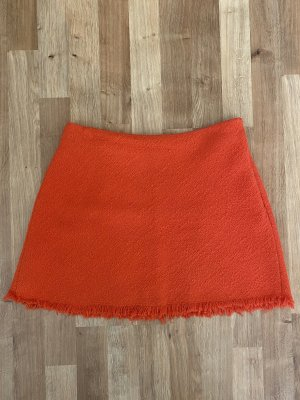Zara Jupe en tweed orange fluo coton