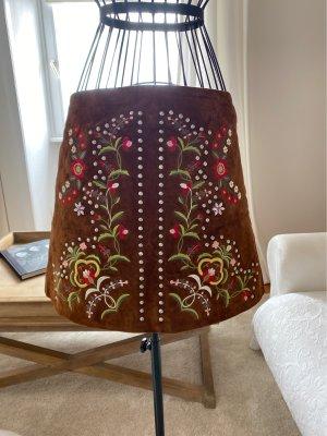 Zara Leather Skirt cognac-coloured