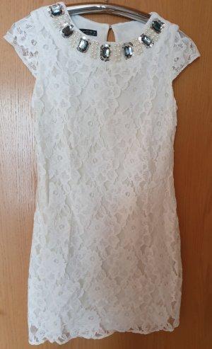Mini Spitzen Kleid creme weiß Perlen Kragen Stickerei kurzarm