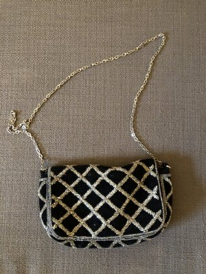 Mini-Tasche schwarzes Samt und Perlen
