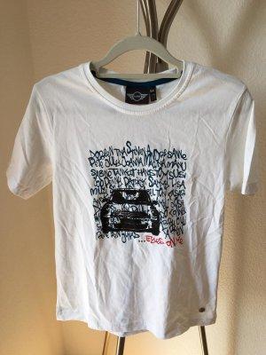 Mini T-shirt blanc-noir tissu mixte