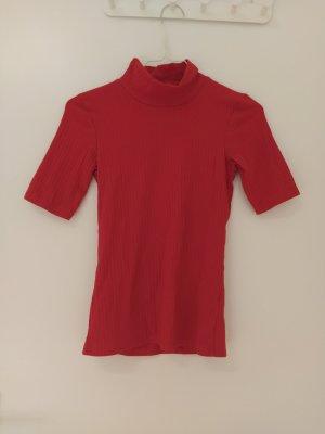 CROPP Prążkowana koszulka czerwony Poliester