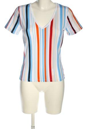 Mini T-shirt col en V motif rayé style décontracté