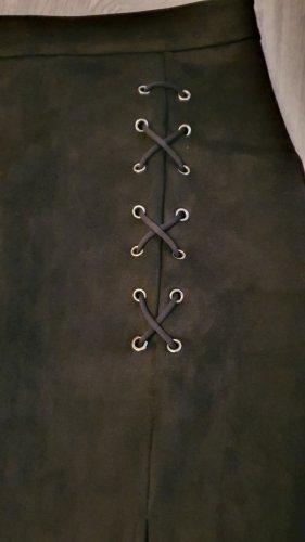 Mini-Velourlederrock mit Schnürung