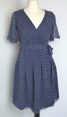 Mini WICKEL KLEID 100% SEIDE blau weiß Sommer Kleid Gr US 0 / XXS 30 32 34