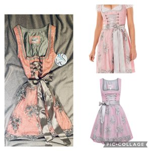 Minidirndl in rosa grau silber mit Bluse