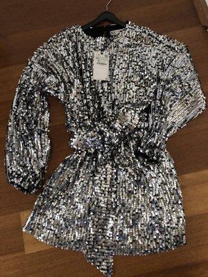Zara Sukienka mini czarny-srebrny