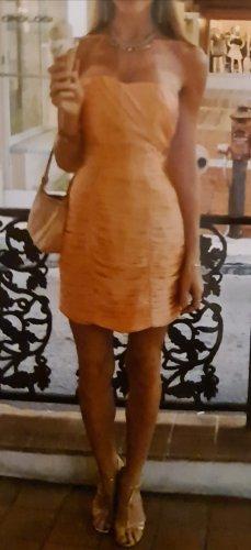 Minikleid Cocktailkleid satin peach drapiert Hochzeit Brautjungfer