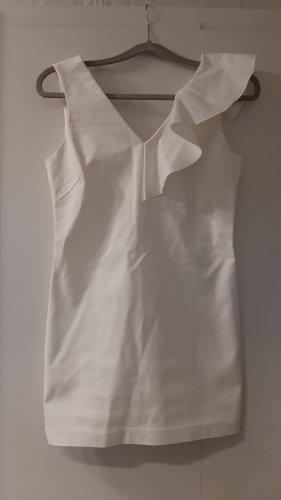 Minikleid elfenbein mit Volantrüsche asymmetrisch V-Ausschnitt ärmellos Gr. 32