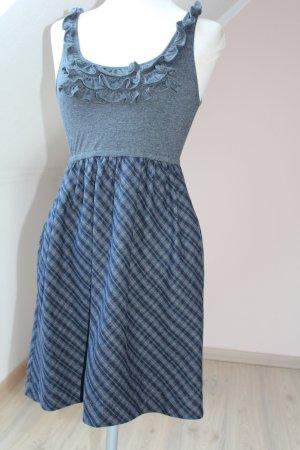 Minikleid gerüscht Frühlingskleid Skaterkleid grau braun Gr. XS 34 neu Lolita kawaii Kurzgröße
