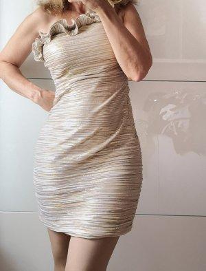 Minikleid Gold one shoulder asymetrisch Volants Blogger 38
