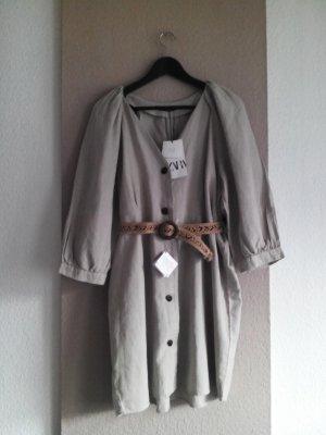 Minikleid in beige aus Baumwolle und Leinen, Grösse L, neu