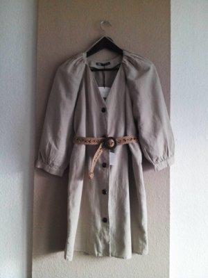 Minikleid in beige aus Baumwolle und Leinen, Grösse S, neu