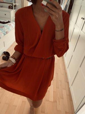 H&M Sukienka z rękawem balonowym ciemnoczerwony-rudy