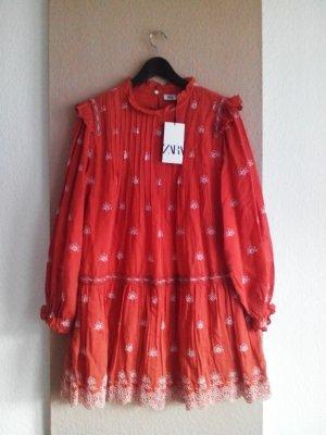 Minikleid in orange aus Viskose und Baumwolle mit Lochstickerei, Größe M, neu