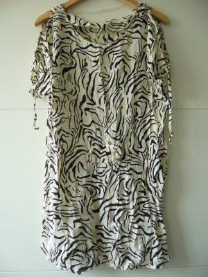 Minikleid Kleid Cold Shoulder Zebra weiß schwarz Schnürung Taille und Ärmel S 36