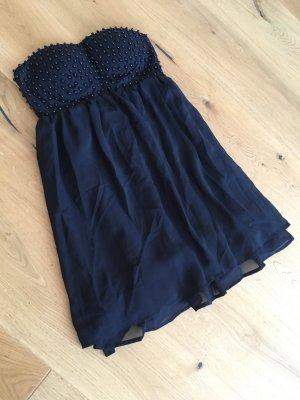 Minikleid Kleid trägerlos Vila schwarz Perlen