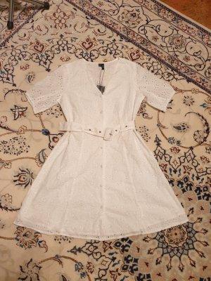Minikleid Kleid Vero Moda Gr. XL (40-42) weiß lochmuster casual basik Baumwolle