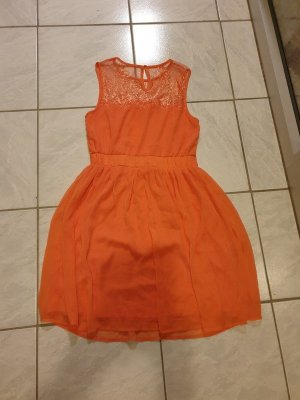 Minikleid kurzes Kleid Vila Gr. XS (34) orange Spitze ABI Ärmelloses Minikleid